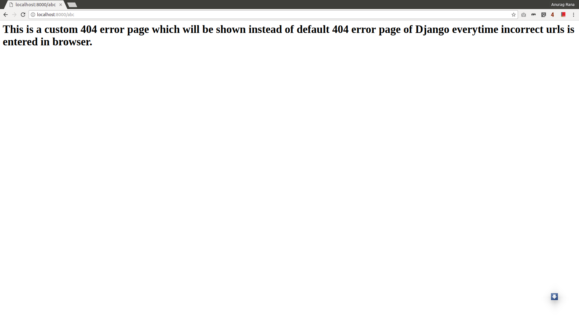 displaying custom 404 error page not found page in django