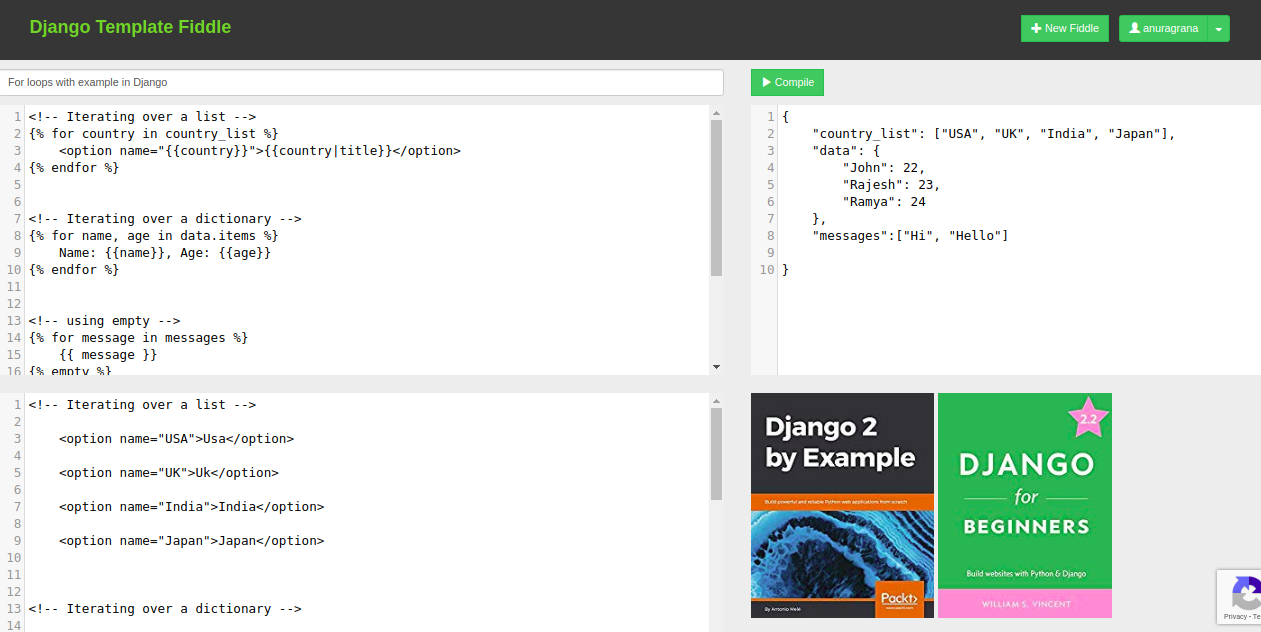 Django Template Fiddle Launched !!!!