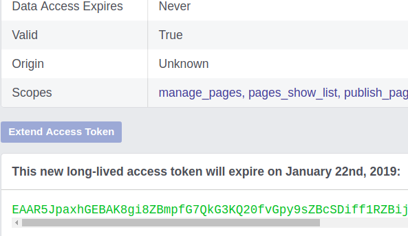 page access token facebook extended